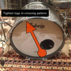 Tighten drum lugs in a crossing pattern